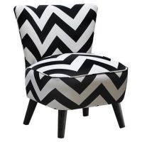 Accent chair with black and white chevron upholstery and ...