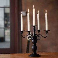 Black classical wrought iron dining table candle holder ...