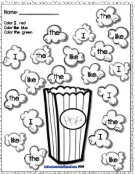 Journeys Kindergarten list-Popcorn Sight Word Activities