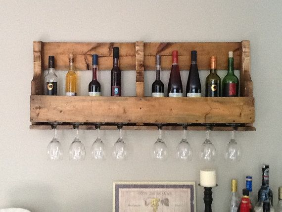 Recycled pallet wall hanging wine rack  Wall hangings