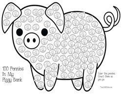 Count and color 100 pennies. FREE printables