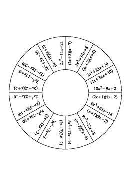 Factoring Quadratics with A greater than 1 Tarsia Puzzles