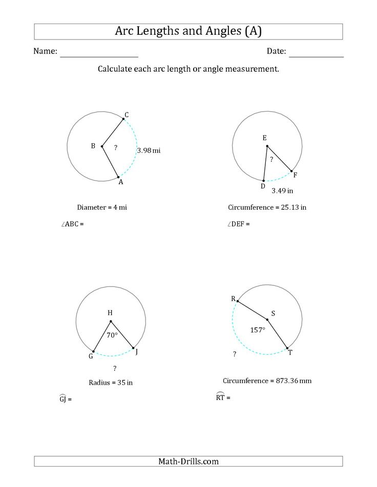 The Calculating Arc Length Or Angle From Circumference