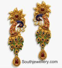 22 carat gold peacock earrings with enamel work ...