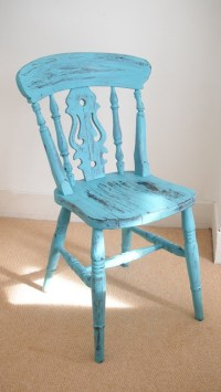 Turquoise painted upcycled wooden chair | chairs ...