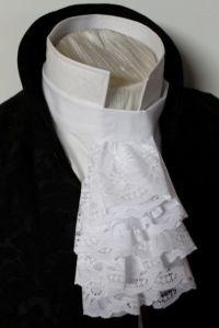Regency Historic Victorian White JABOT - Lace Ascot Cravat ...