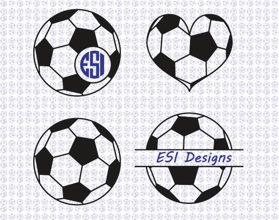 Soccer ball Football monogram designs. SVG, DXF, EPS files