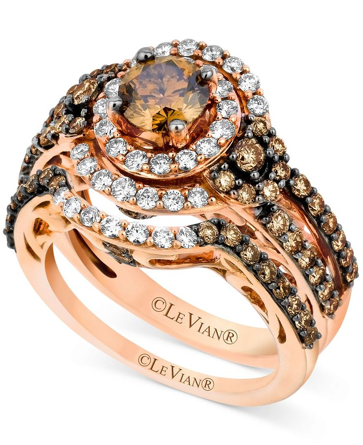 Le Vian 14k Strawberry Gold Bridal Set Chocolate
