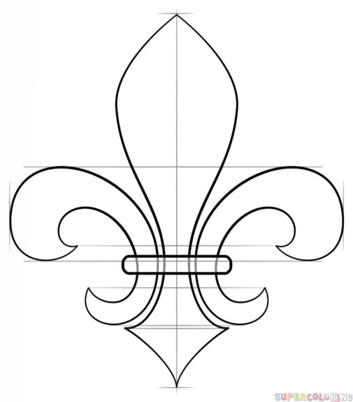 How to draw a Fleur-de-Lis step by step. Drawing tutorials