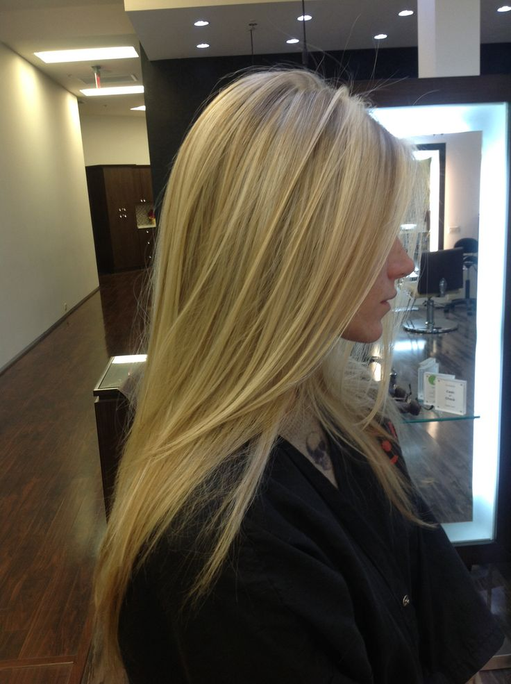 Blonde pattern matching highlights with a long layered cut by Andre Aronica  DreHair Salon