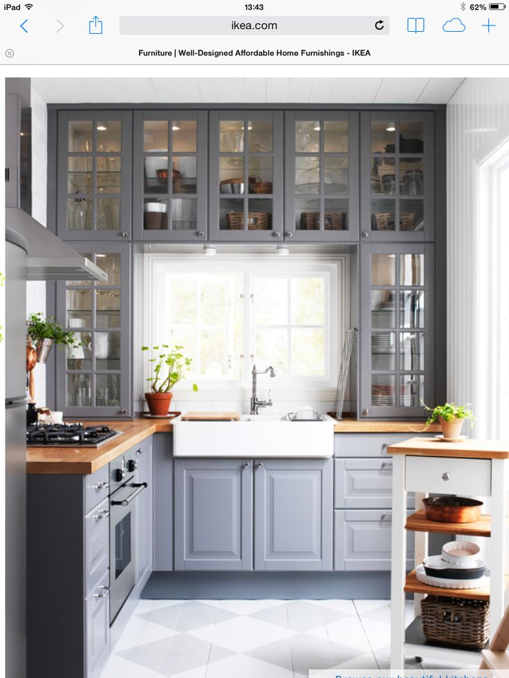gray cabinets butcher block counter  1st house  Kitchen