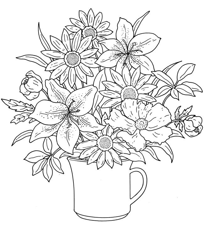 Flower Bouquet Coloring pages colouring adult detailed