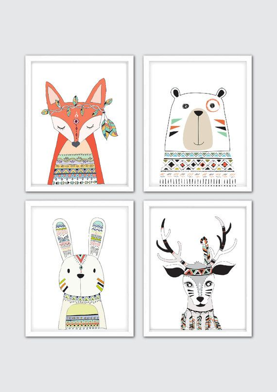 Woodland Animals Nursery Decor, Tribal Nursery Decor, Boho