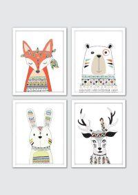 Woodland Animals Nursery Decor, Tribal Nursery Decor, Boho ...