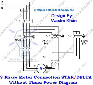 3 Phase Motor Connection STARDELTA Without Timer power