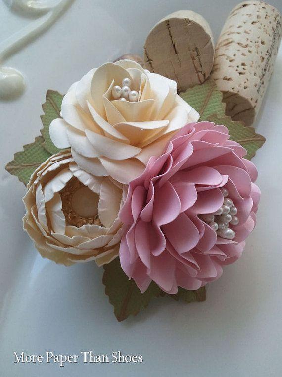 Handmade Paper Flowers Corsage Ivory Pink Weddings