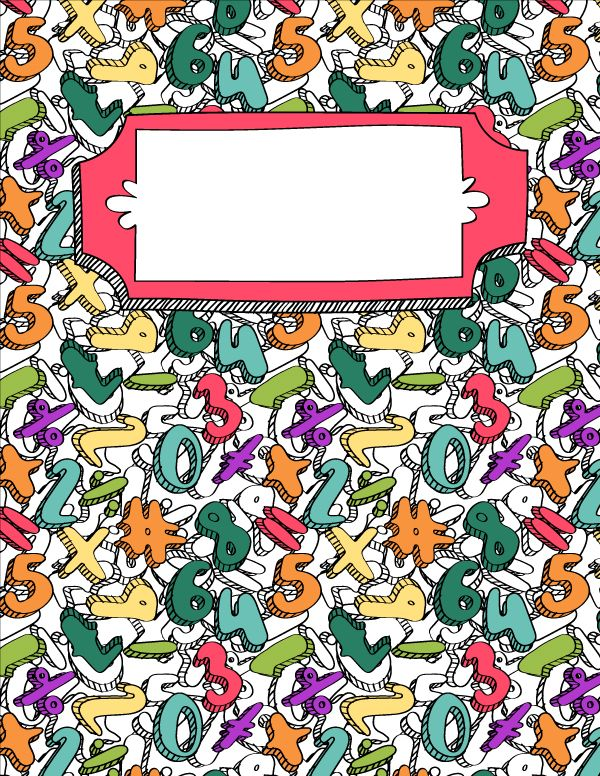 Free Printable Math Doodle Binder Cover Template Download