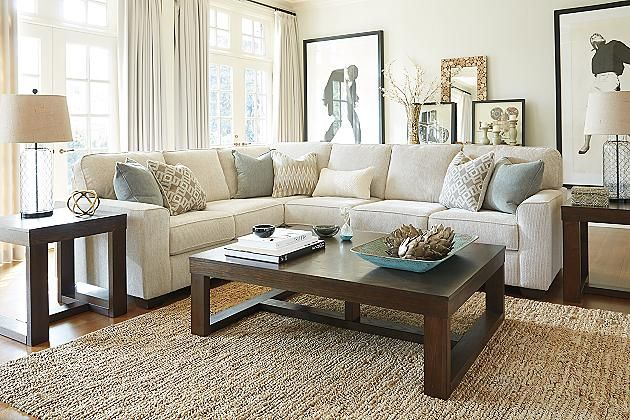Sand Salonne 3Piece Sectional View 3  Great Room Ideas