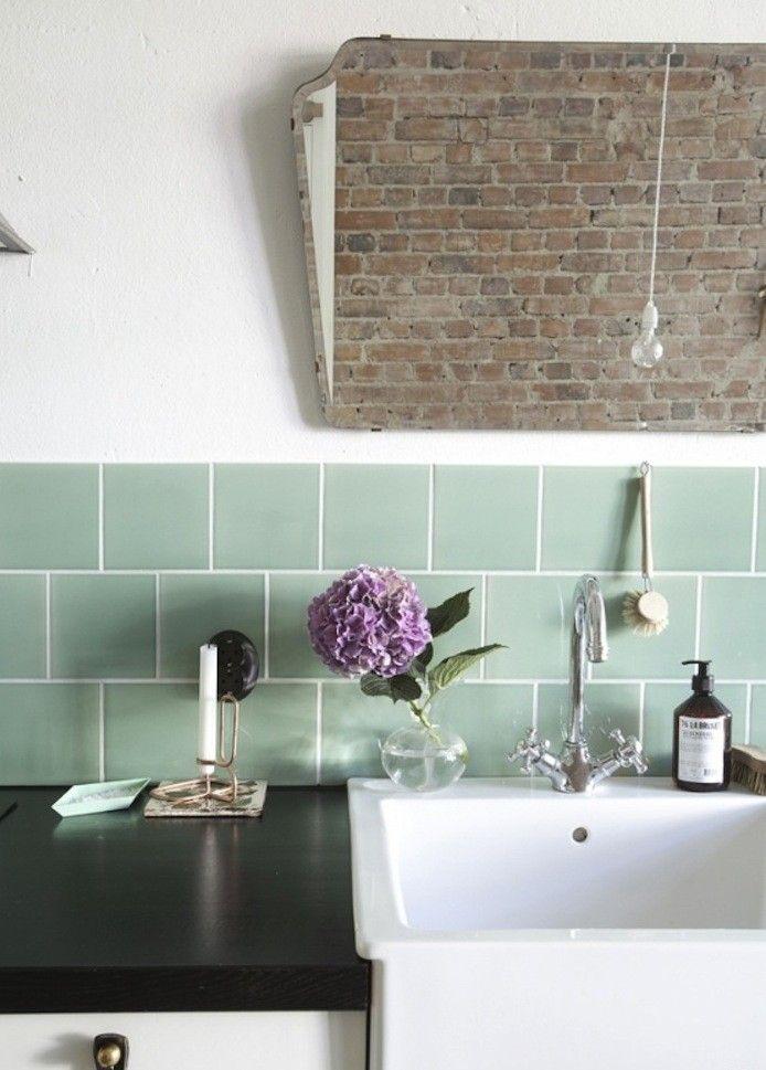 Mint green subway tiles  Kitchen design  Pinterest