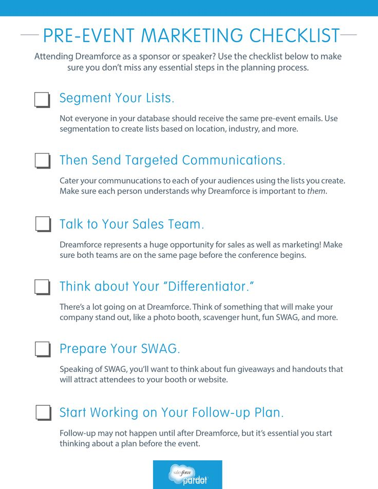 Pre Event #Marketing Checklist Marketers Use This