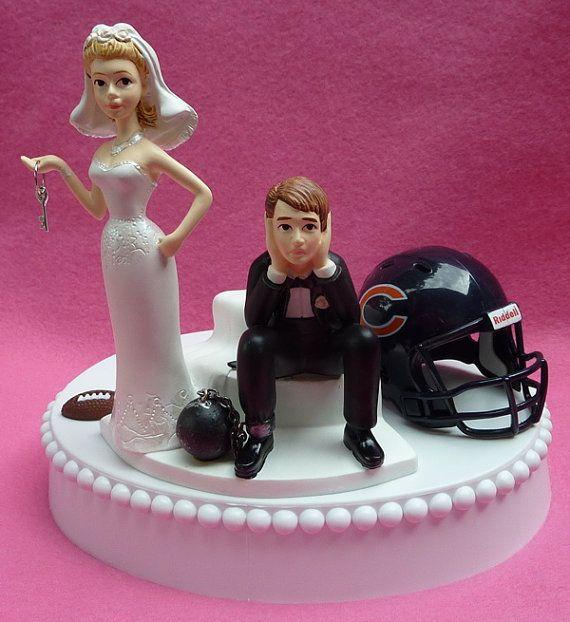 Wedding Cake Topper Chicago Bears Football Themed Ball and Chain Key w Garter Sports Fan