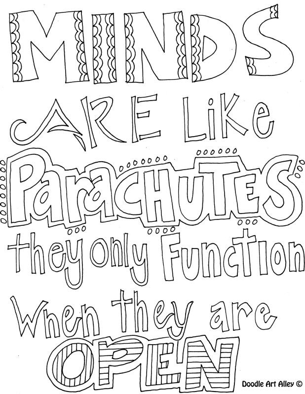 Doodle coloring pages with learning quotes. First day of