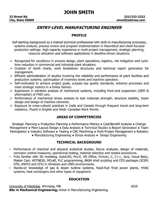 EntryLevel Manufacturing Engineer Resume Template