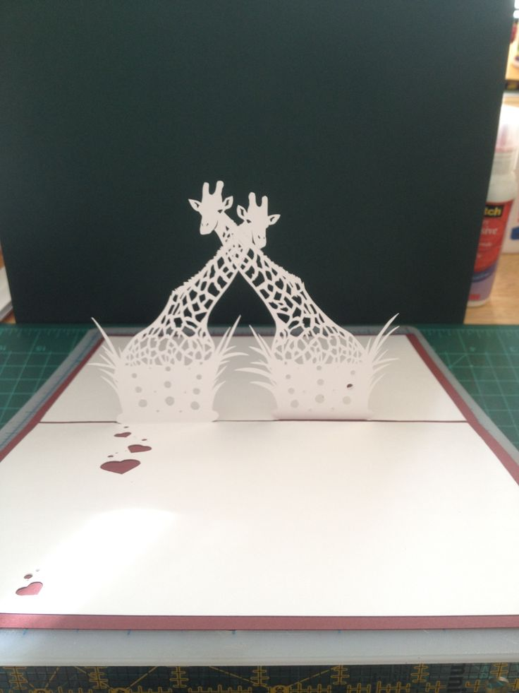 "Giraffe Pair Pop Up Card Template From ""Cahier Kirigami"