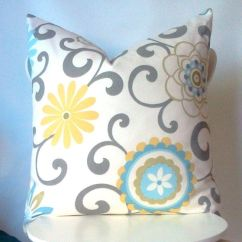 How To Make Sofa Covers Wooden Set Designs Bangalore Suzani Yellow Blue And Grey Of Two 20 Inch Pillow ...