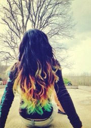 #black #rainbow #dyed #hair #pretty
