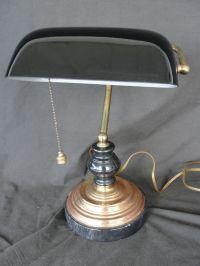 Vintage Black Cased Glass Bankers Desk Lamp Student Lamp ...