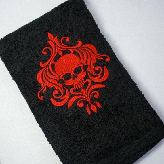 Embroidered Black Bathroom Hand Towel  Red Skull Damask