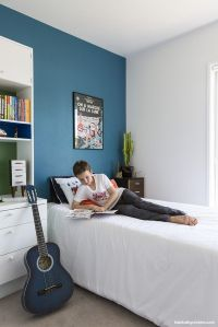 For the boy's bedroom a feature wall in Resene Blumine, a ...