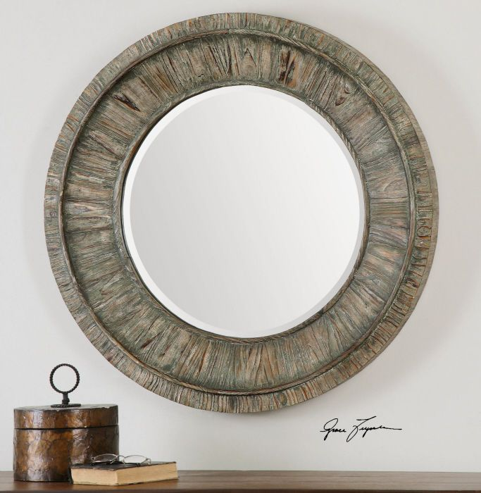Large Rustic Sage Gray Wood Round Beveled Wall Mirror 36