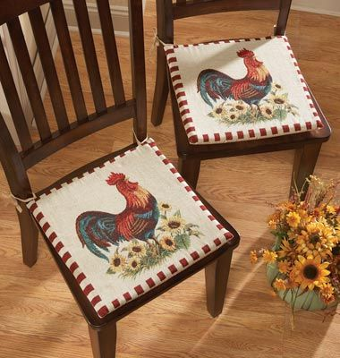 french country kitchen chair cushions accent yellow rooster | pinterest chang'e 3, ties and decor