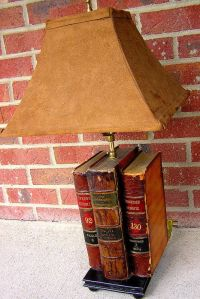 I've seen cute lamps made out of stacked books, but I love ...