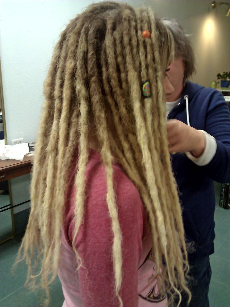 Dreads long blonde dreads on super thick and curly hair