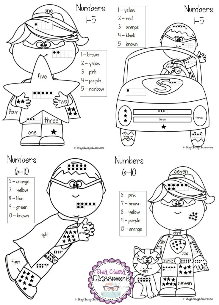 Color by Number ~ Superhero Coloring Sheets using number