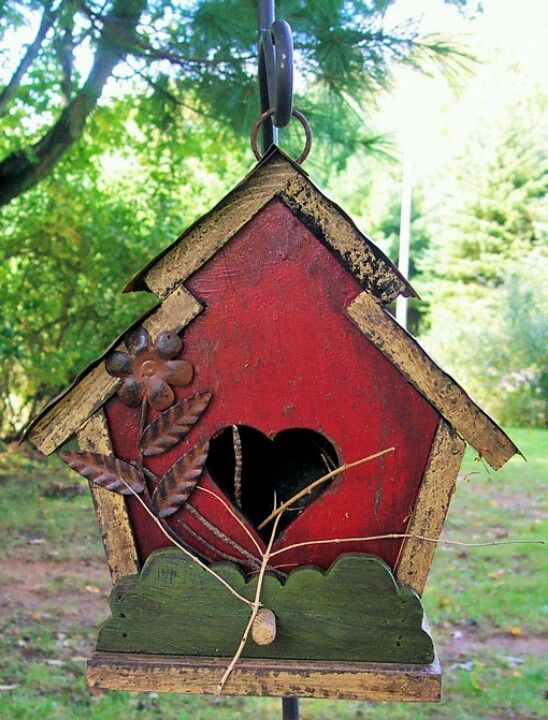 Red birdhouse Love the heartshaped opening  Art