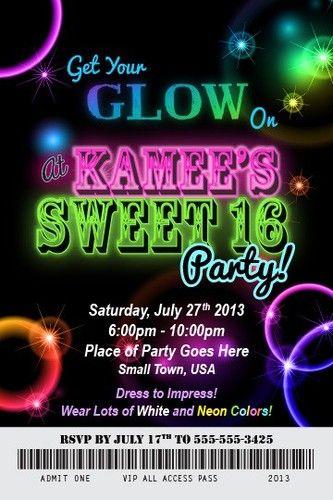 Glow In The Dark Birthday Party Invitation Ticket Neon