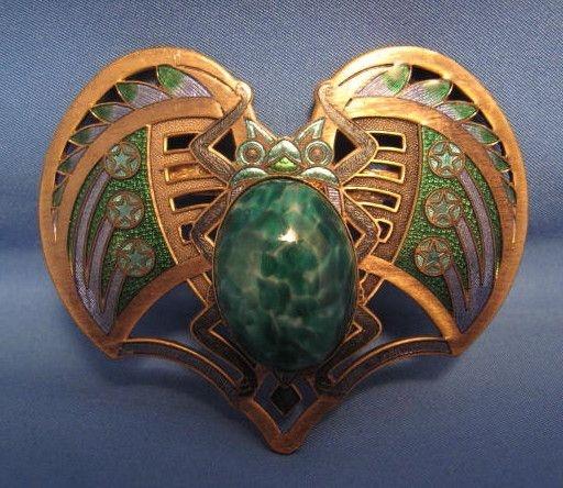 Vintage Sunya Currie Egyptian Winged Scarab Beetle Pin