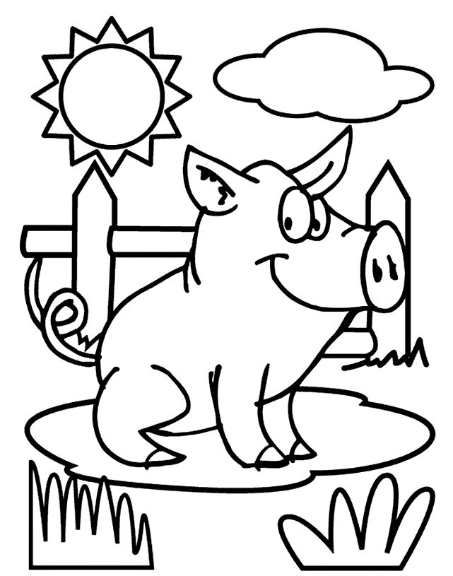Pig coloring page via crayola.com. Color while singing