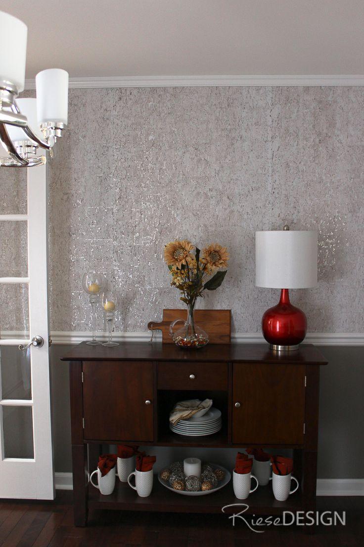 Candice Olson corkbacked textured metallic wallpaper