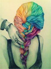 colourful hair drawing crimp