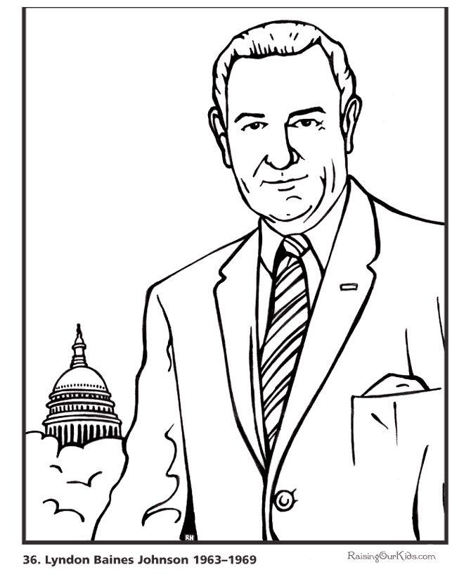 Free printable President Lyndon B. Johnson coloring pages