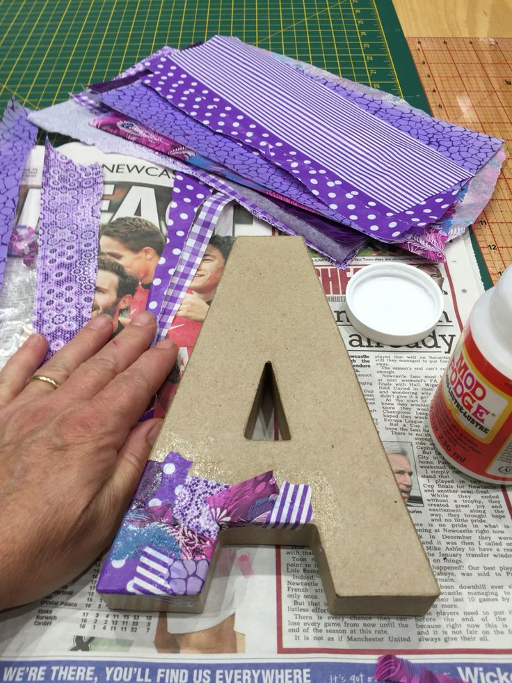 Decoupage on a cardboard 3D letter A  DIY Home Decor  Pinterest  3d Decoupage and Letters