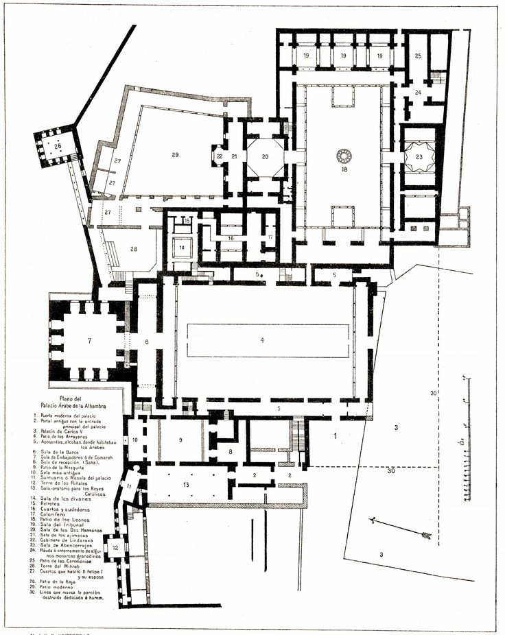 High resolution plan, 65. .Alhambra Palace. Granada, Spain