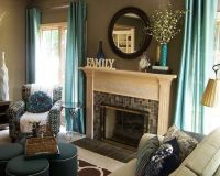 , Contemporary Teal Living Room Accessories Like Curtains