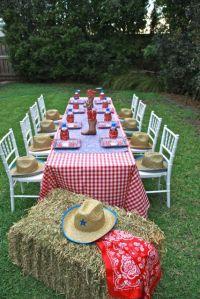 Cowboy Birthday Party Ideas | Tablecloths, Cowboy party ...
