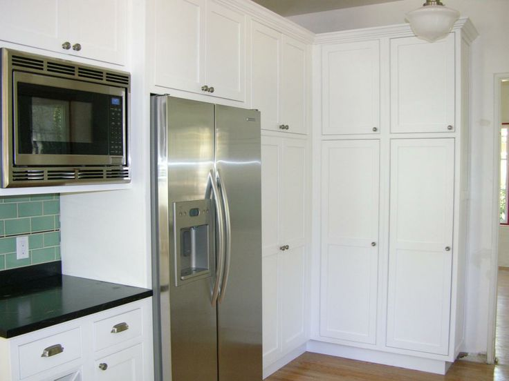 teal kitchen appliances custom cabinetry built-in microwave & counter depth refrigerator (cultivate ...